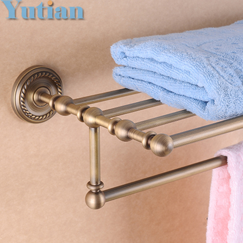 HOT SELLING, antique brass Bathroom towel holder, towel rack, solid brass  towel rack with hooks,bathroom corner bastket shelf whole brass blackend antique ceramic bath towel rack bathroom towel shelf bathroom towel holder antique black double towel shelf