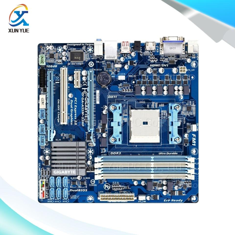Gigabyte GA-A55-S2HP Original Used Desktop Motherboard AMD A75 Socket FM1  DDR3 SATA2 USB2.0 Micro ATX  free shipping original motherboard for gigabyte ga a55 s3p socket fm1 ddr3 32gb a55 s3p all solid atx desktop motherboard