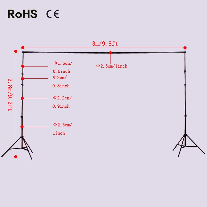2.4m*3m/7.9ft*9.8ft Photo Video Studio Background stands Adjustable Photography Video Muslin Backdrop Support System Stands Set lightdow 2x3m 6 6ftx9 8ft adjustable backdrop stand crossbar kit set photography background support system for muslins backdrops
