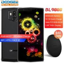 """DOOGEE BL9000 5.99 """"téléphone mobile Android 8.1 Helio P23 Octa Core 6 GB 64 GB 5V5A 9000 mAh sans fil de charge NFC double Cam 4G téléphone portable"""