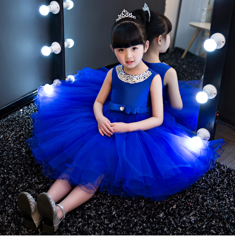 343db9558 Aliexpress.com : Buy Glizt Royal blue Kids Girls Party Wedding flower girl Dress  Baby Girl Dress Bead Bow Prom Formal Dress First Communion Gown from ...