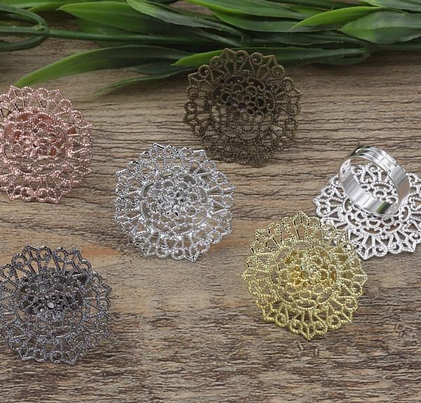 100 шт. 32 мм Цветок Pad кольца пустой камея, бронза/золото/серебро кольцо настройки, ручной DIY Zakka ювелирных нахождения