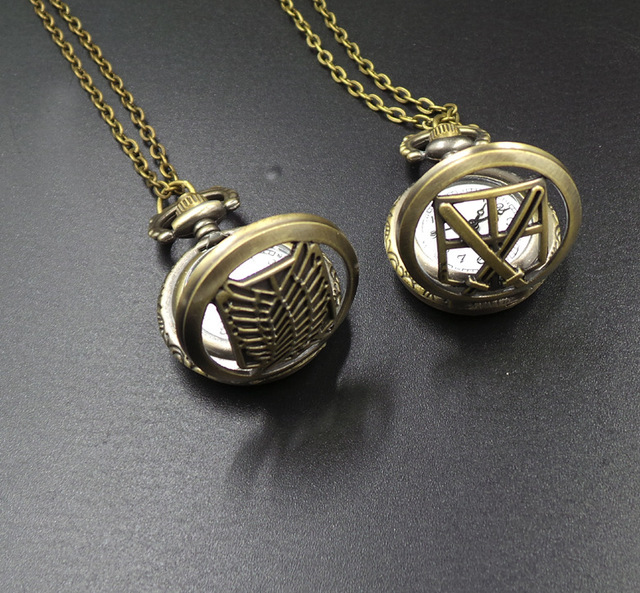 "Attack on Titan ""Wing Of Liberty"" Pocket Watch Necklace"