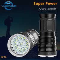 72000 Lums Hohe Leistungsstarke LED Taschenlampe 18 * T6 LED taschenlampe Flash licht wasserdichte Scheinwerfer Lampe mit 4*18650 batterie + ladung