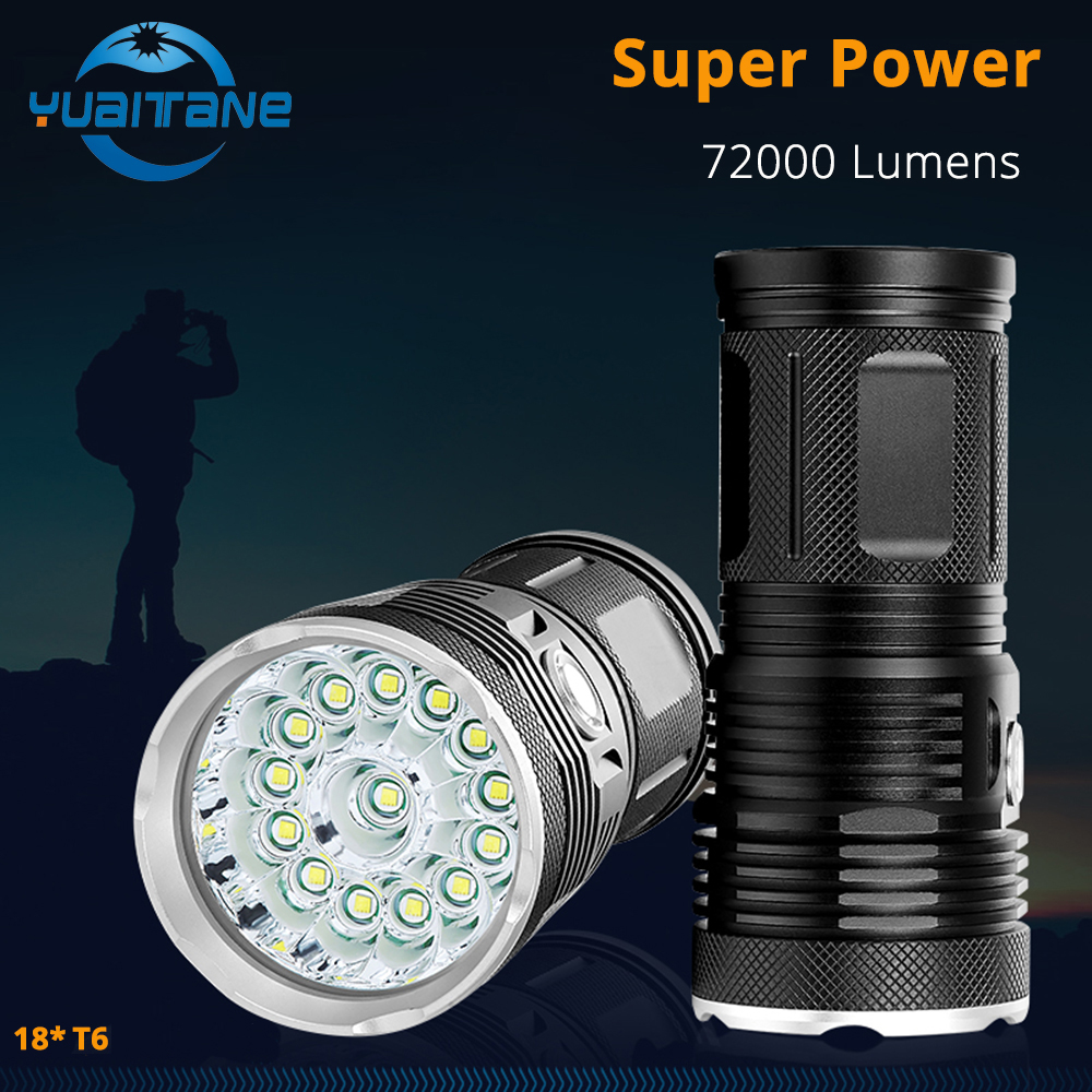 72000Lums High Powerful LED Flashlight 18 *T6 LED torch Flash light waterproof Searchlight Lamp with 4*18650 Battery+charge 16t6 super powerful flashlight torch lamp led flash light 38000lm waterproof hunting lamp lights with rechargeable 18650 battery
