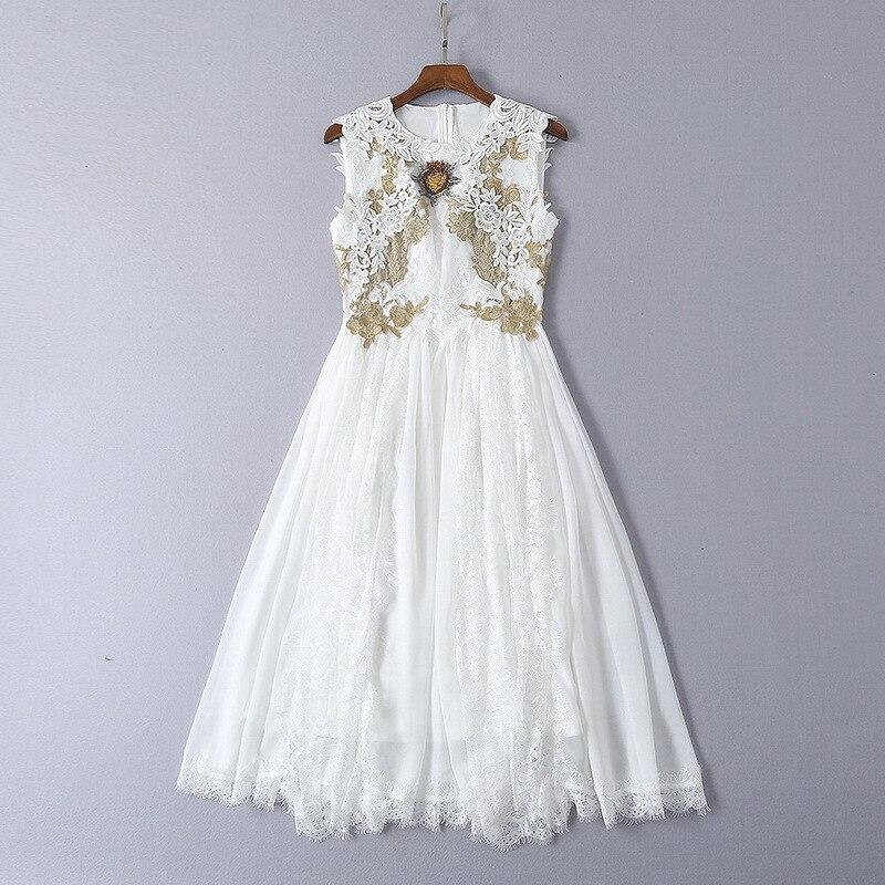 Kadın Giyim'ten Elbiseler'de 2019 yaz yeni beyaz yama nakış dantel boncuklu ince elbise kadın elbise 190306LU06'da  Grup 1