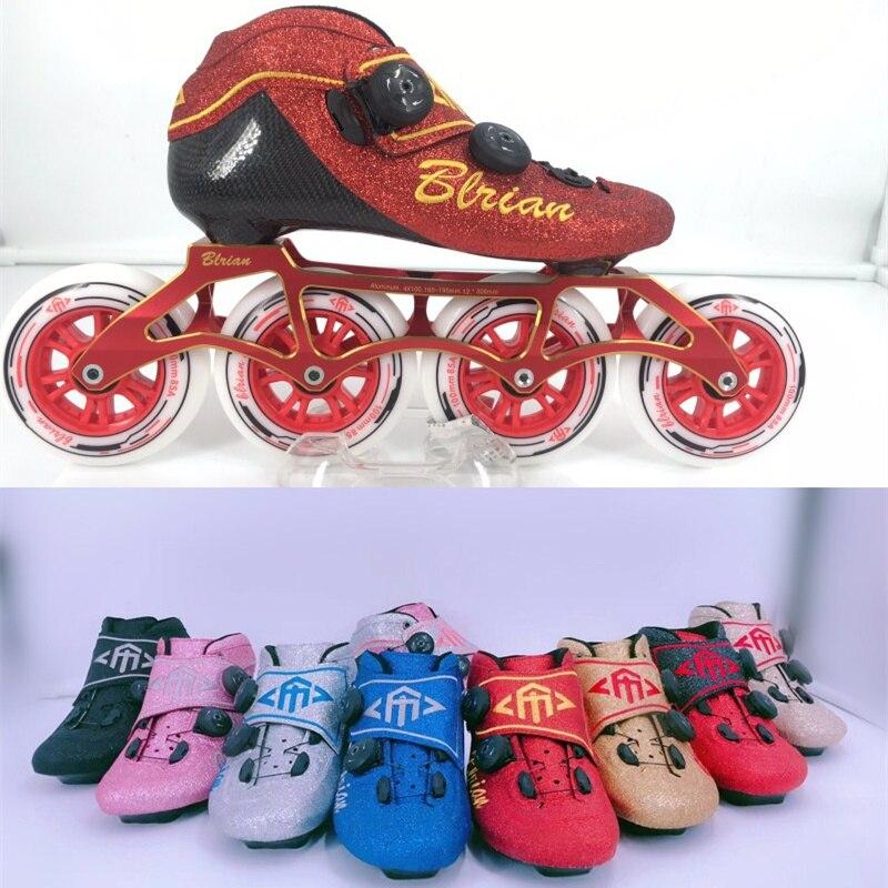 Patins de vitesse Ultra en ligne chaussures bouton Design BOA système professionnel sans lacet 6 couches en Fiber de carbone bouton de verrouillage PRO 4 roues