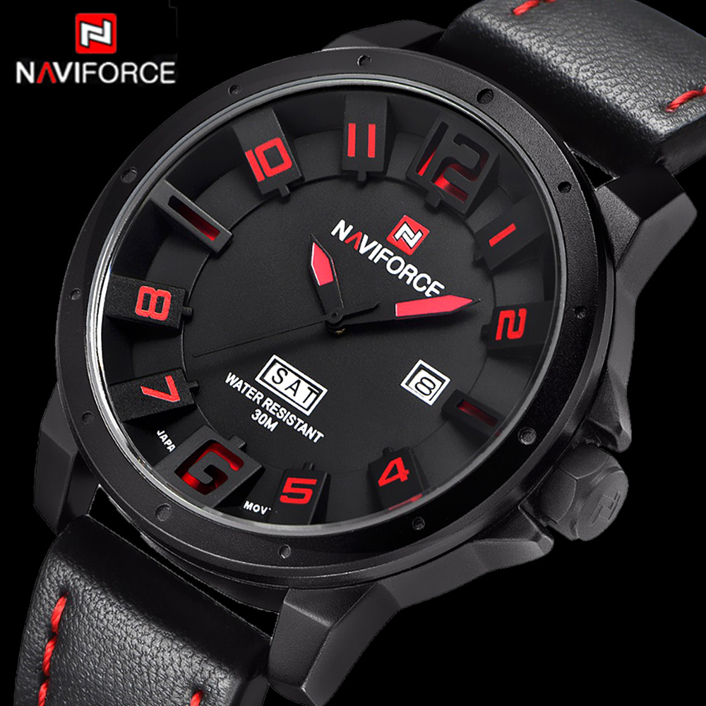 font b Men b font Watches NAVIFORCE Brand Military Reloj Quartz Analog 3D Face Leather