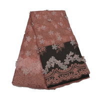 Różowy kolor wysokiej jakości nowoczesny francuski tulle koronki tkaniny z 3D kwiaty do sukni Ślubnej