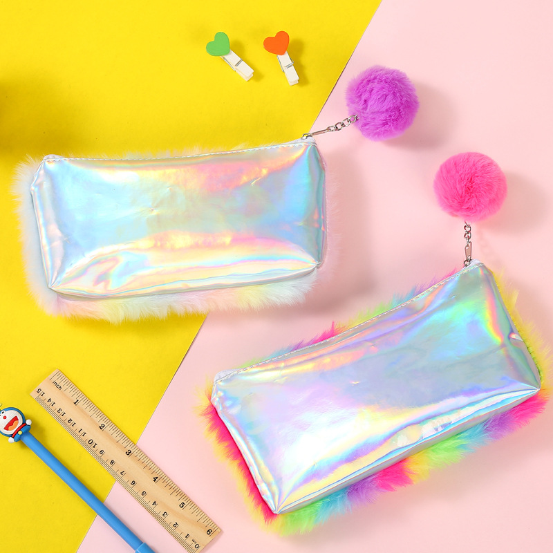 Plush Pencil Case Trousse Crayon Pennen Etui Scolaire Stylo School trousse Laser Hairball For Girls Estuches Para El Colegio in Pencil Cases from Office School Supplies