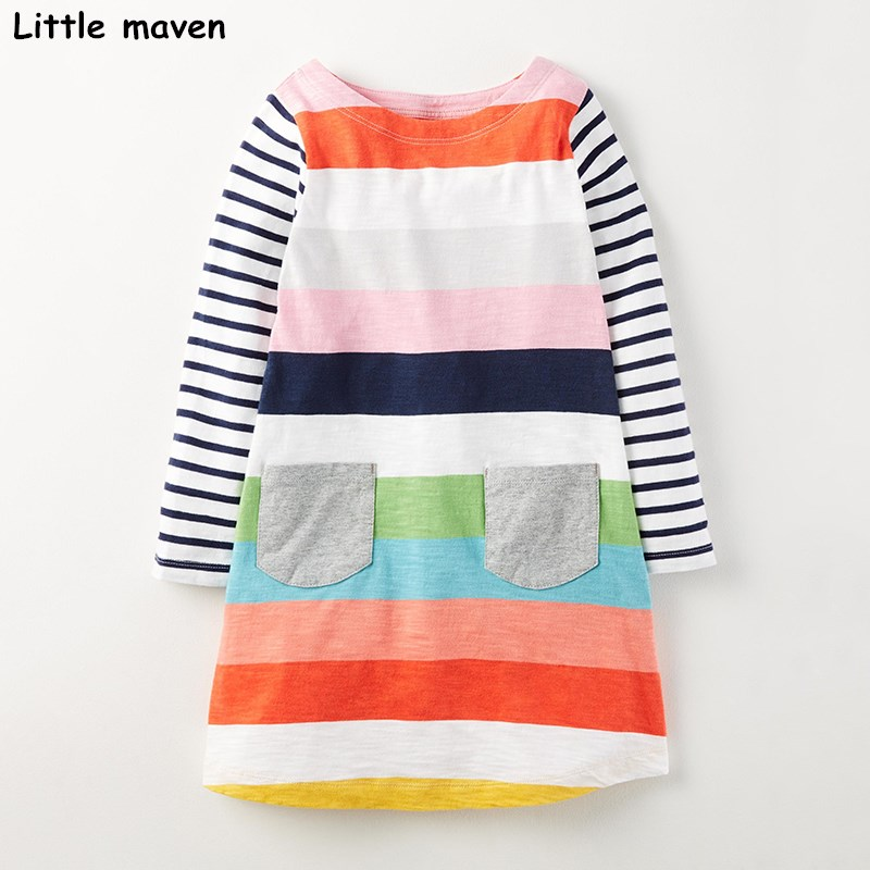 Little maven kids dresses for girls 2017 autumn new baby girls clothes Cotton colorful stripped pocket