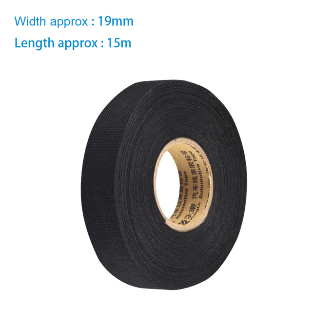 us $1 91 13% off 1pcs 19mmx15m fabric cloth tape automotive wiring harness glue high temperature tape 19mm*15m for car adhesive tape cable looms in Electrical Harness