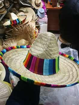 Natural  Men Straw Mexican Sombrero  Hat Women Colorful  Birthday Party Decoration Tabletop Party Hats L3 - DISCOUNT ITEM  20% OFF All Category