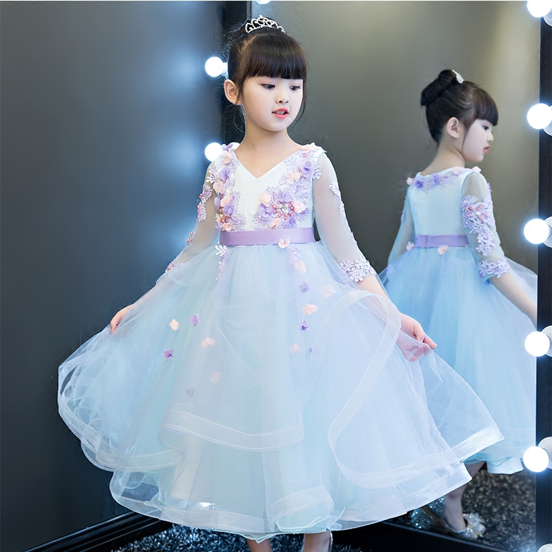 New Fashion Baby Girl Autumn Winter Ball Gown Infant Princess Dress Kids Birthday Wedding Party Wear Flowers Long Blue Dress
