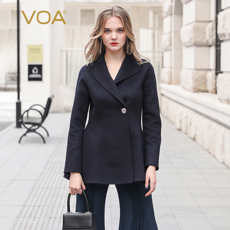 VOA Baby Cashmere Coats Luxury Crystal Button Wool Outwear Women   Basic     Jacket   Ladies kurtki fleece giubbotti donna casacos S333
