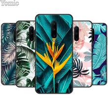 Black Case for Oneplus 7 7 Pro 6 6T 5T Silicone Phone Case for Oneplus 7 7Pro Soft TPU Cover Shell Tropical Green Plant leaf