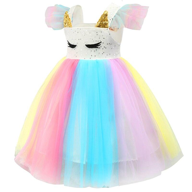 Baby Girls Unicorn Rainbow Christmas Brithday Sequin Tutu Dresses Clothes Children Kids Princess Party Little Pony Clothing 3