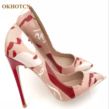895abf2641 New Fashion Party Casual Leather Pumps Sex Lady Red High Heels Pointy  Sandals Luxury Graffiti Brand