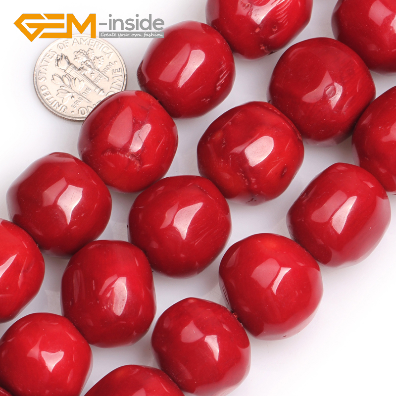 19x20mm Large Red Coral Freeform Round Stone Loose Beads for Jewelry Making DIY Bracelet or Necklace Strand 15 Inches qingmos 14 15mm high quality 100% round orange natural coral beads for jewelry making necklace bracelet loose strand 15 los32