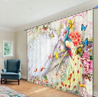 Beautiful Peacock 3D Colorful Photo Printing Blackout Curtains For Living Room Baby Girls Kids Bedding Room