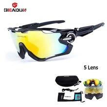 2018 Óculos De ciclismo 5 Lente MTB da bicicleta da bicicleta do esporte  óculos de sol novos óculos de sol e óculos Polarizados . 3b2063ea22