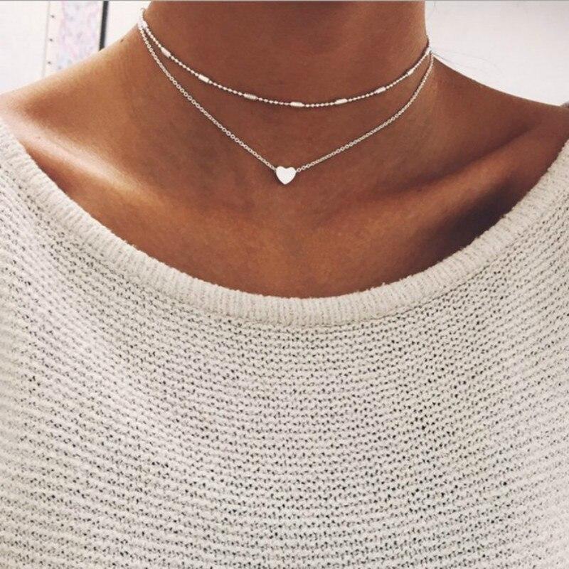 Neue Silber Farbe Gold Schmuck Liebe Herz Halsketten & Anhänger Doppel Kette Chokerhalskette Kragen Frauen Erklärung Schmuck Bijoux