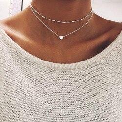 Nova prata cor do ouro jóias amor coração colares & pingentes duplo corrente gargantilha colar feminino jóias bijoux