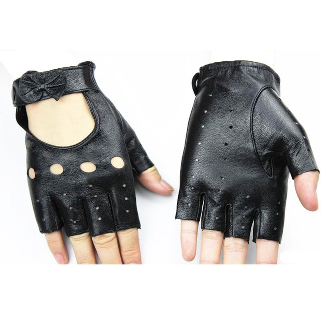 Leather Half Finger Glove Thin Hollow Short Outdoor Sports Ride Driving Lady No Finger Sheepskin Gloves