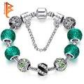 Nueva Plateado Verde Crystal Charm pulsera para Las Mujeres Joyería de Los Granos Originales Pulseras Pulseiras Día De Navidad Gfit ps3124