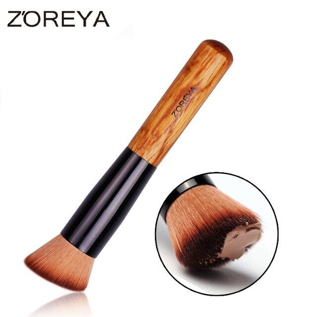 ZOREYA Marca Estilo Oblicuo Cepillo de Base De Madera Mango De Madera Multi-Función de Herramienta de Maquillaje Rubor Cepillos Máscara