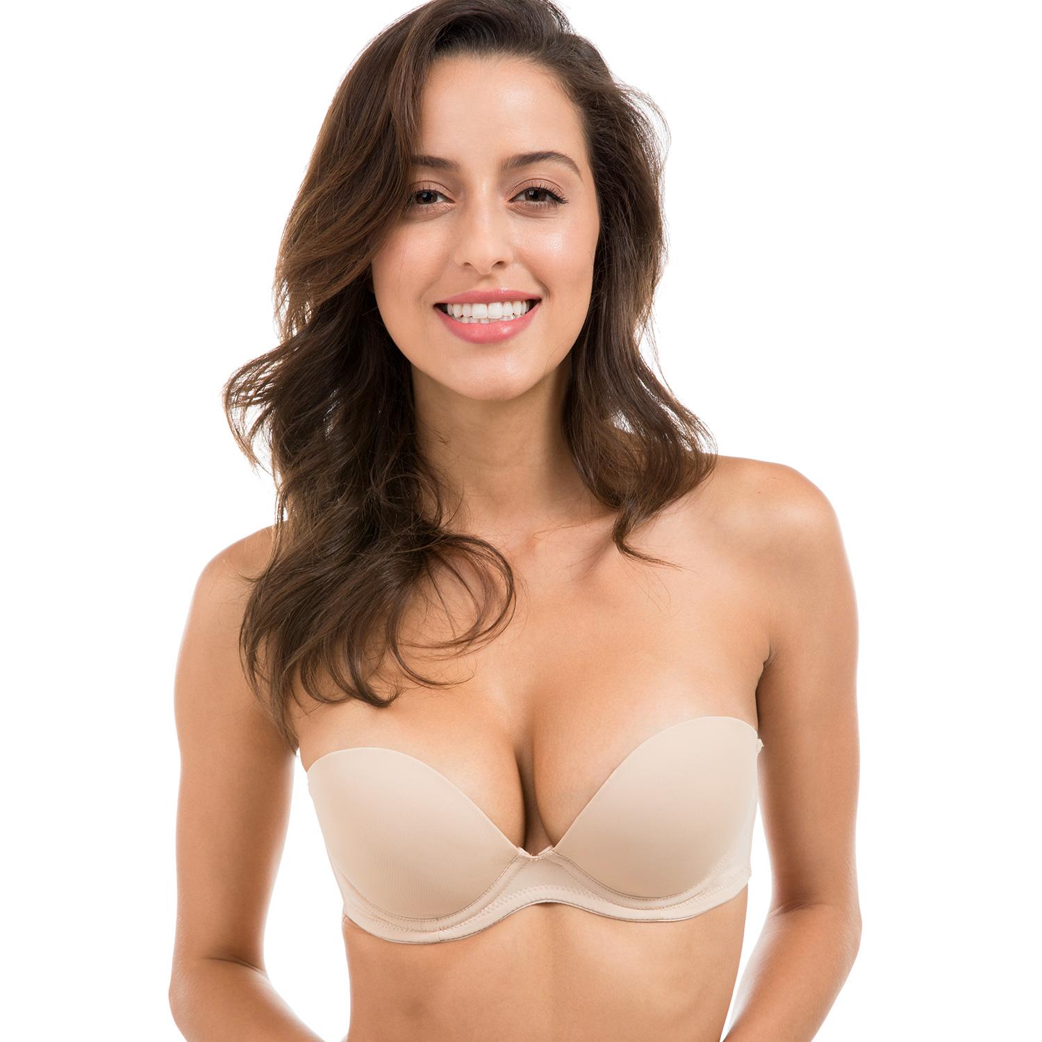 3696496550 Women s Multiway Smooth Demi Cup Seamless Removable Padded Lift Push Up  Strapless Bra