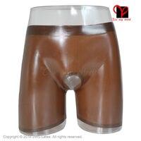Bermuda Marrom aberto quente Sexy Látex perna longa Boxer shorts calcinhas calças De Borracha anel de pênis Buraco eixo inferior KZ-023 Hotpant XXL
