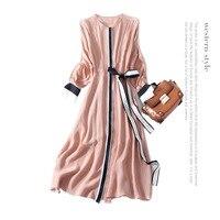 Полоса пояса с рукавом «летучая мышь» Свободное длинное платье 2018 новый бренд взлетно посадочной полосы женщин платье на весну и лето высок