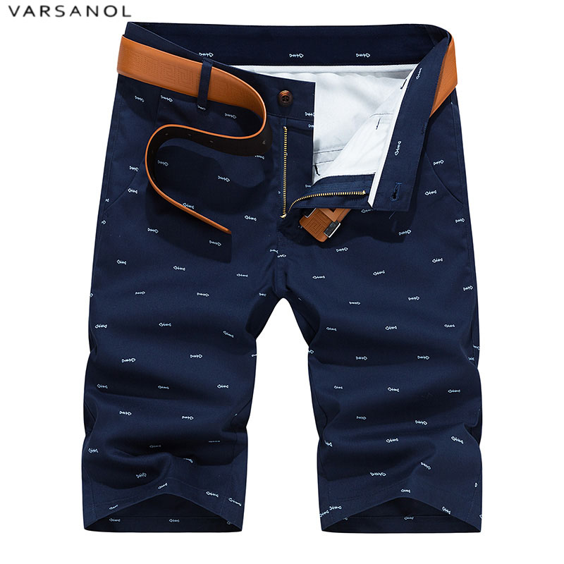 Varsonal Brand 2018 New Mens Shorts Casual Cotton Shorts For Men Summer High Quality Zipper Pockets Men's Shorts 6 Color No Belt