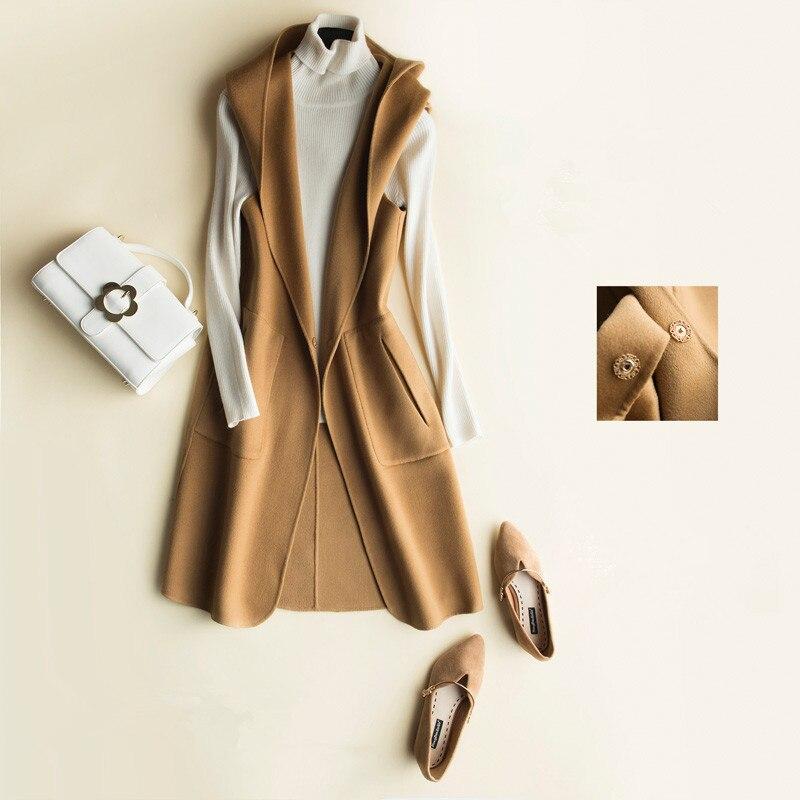 Capuchon Z0019 Femmes 2018 De Femelle Mujer Laine Automne Vestes Mode À Chalecos Caramel Long noir Manteau Gilet Para Nouveau Printemps Pour camel yvnO8m0wNP