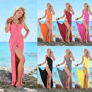 Image 2 - Sukienka plażowa dla kobiet Wrap stroje kąpielowe z odkrytymi plecami lato Cover up Sexy dekolt w szpic plażowy osłona do bikini up spódnica szalik szal ręcznik T0084