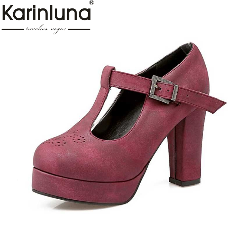 KarinLuna Big Size 34-43 Sexy Women Gladiator T Straps Square High Heel Shoes Spring Autumn Party Wedding Platform Pumps esveva 2017 women pumps mary janes spring autumn shoes square high heel pumps flock party wedding women shoes big size 34 43