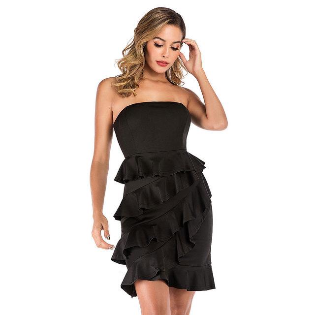 Asymmetric short black bandeau dress