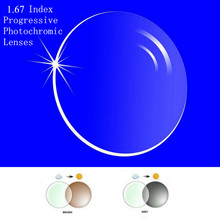 1.67 Index Prescription Progressive Photochromic Lenses Free Form Multi Focal Lens without line for Transit Grey Brwon Lenses