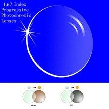 1.67 색인 처방전 프로그레시브 포토 크로 믹 렌즈 프리 폼 멀티 초점 렌즈 (라인 없음) transit grey brwon lenses