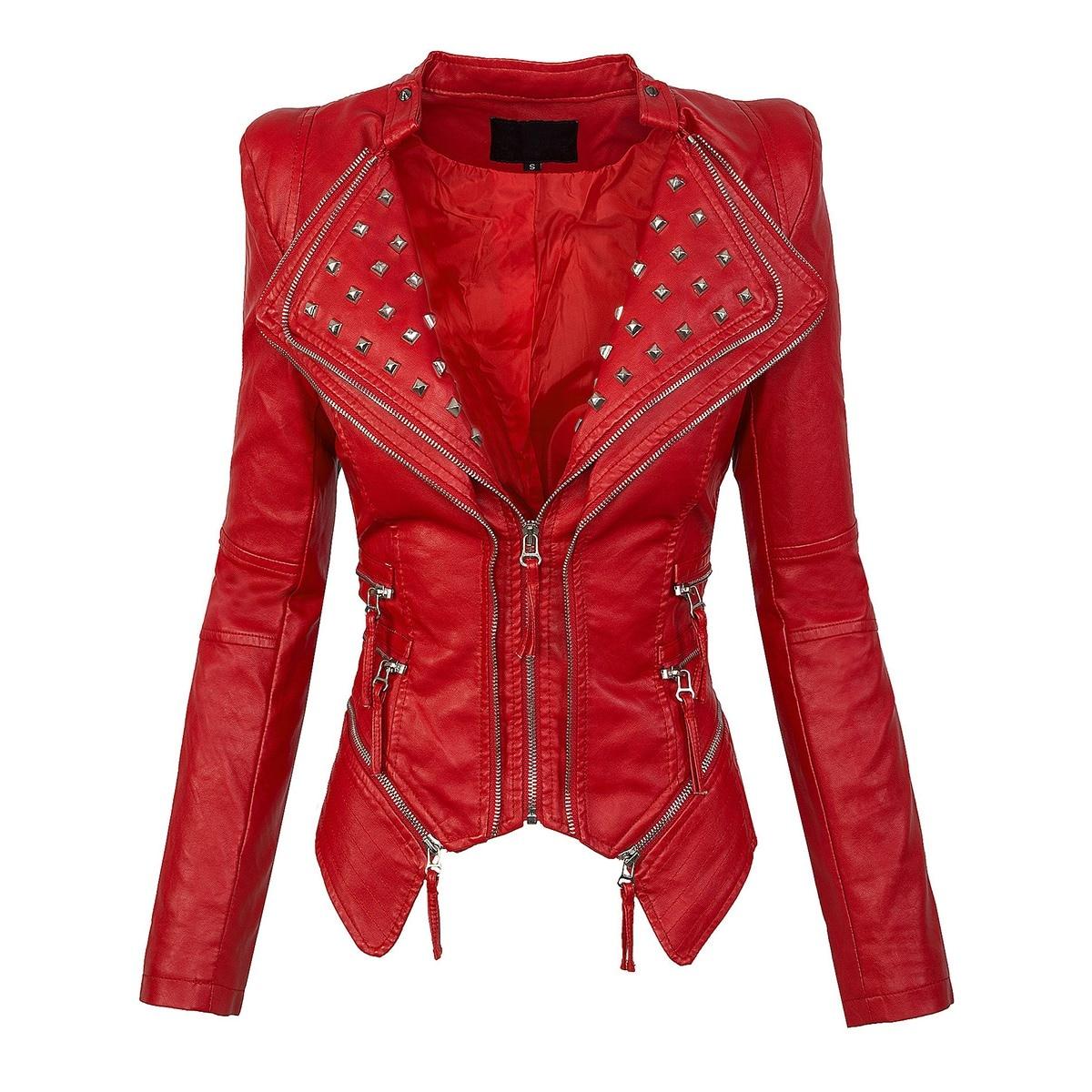 autumn women red jacket coat faux leather Plain Wide Lapel Rivet zipper PU