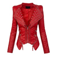 autumn women red jacket coat faux leather Plain Wide Lapel Rivet zipper PU Jacket high street short top outwear sexy girl 2019