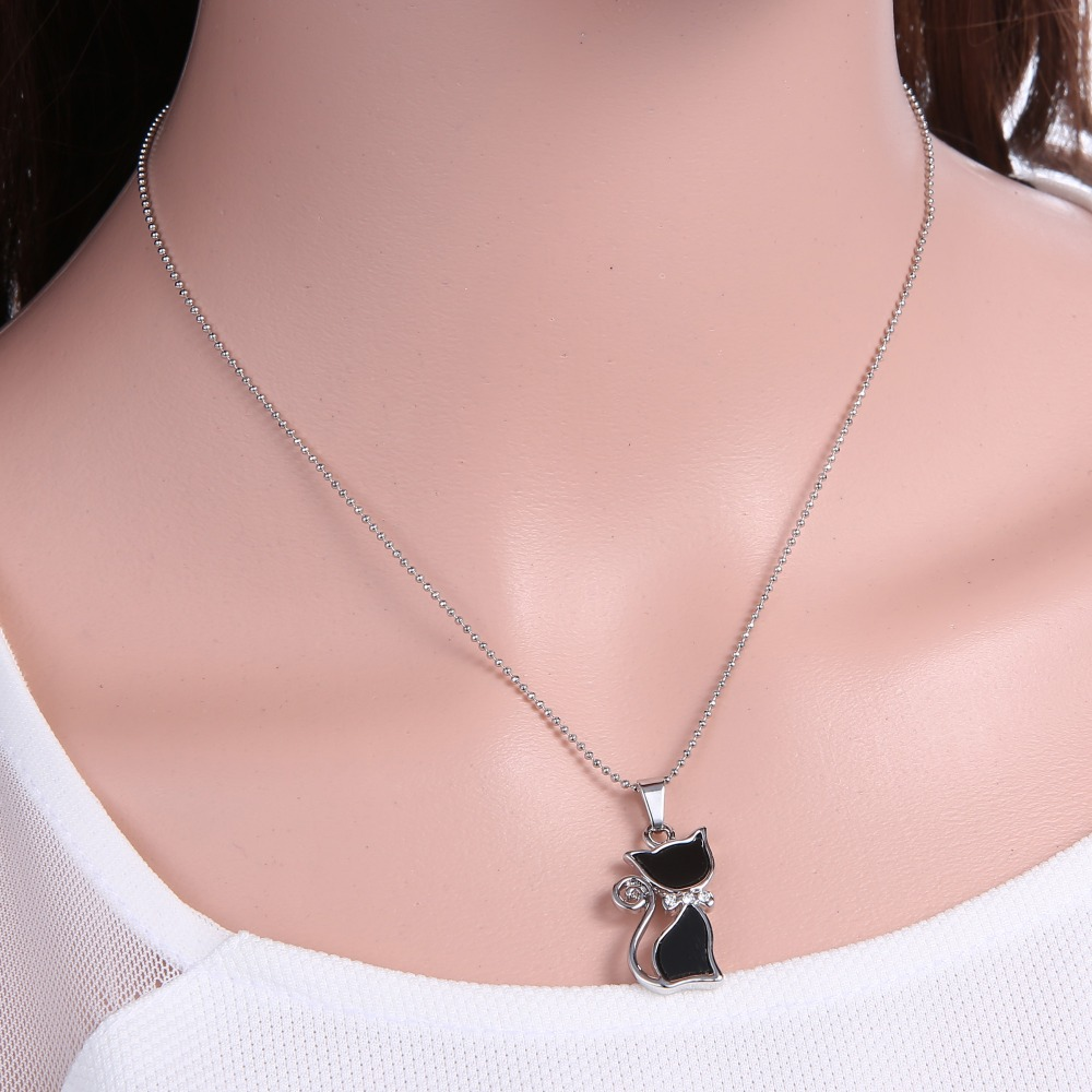 Aliexpress buy 2017 silver plated rhinestones crystal cute aliexpress buy 2017 silver plated rhinestones crystal cute cat pendants necklaces fashion summer choker bowknot necklaces for lady animal black from mozeypictures Choice Image