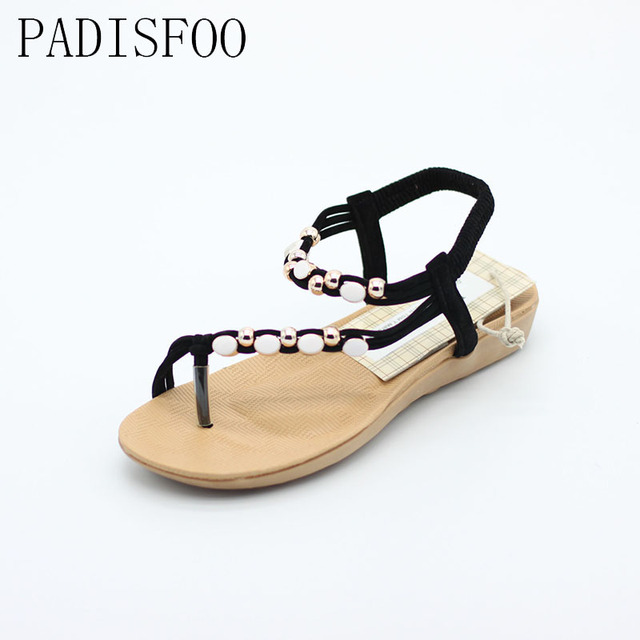 POADISFOO 2017 New Summer wrap strap Bohemian style With Beads sandals toe Roman casual Sandals  For Women .HYKL-602