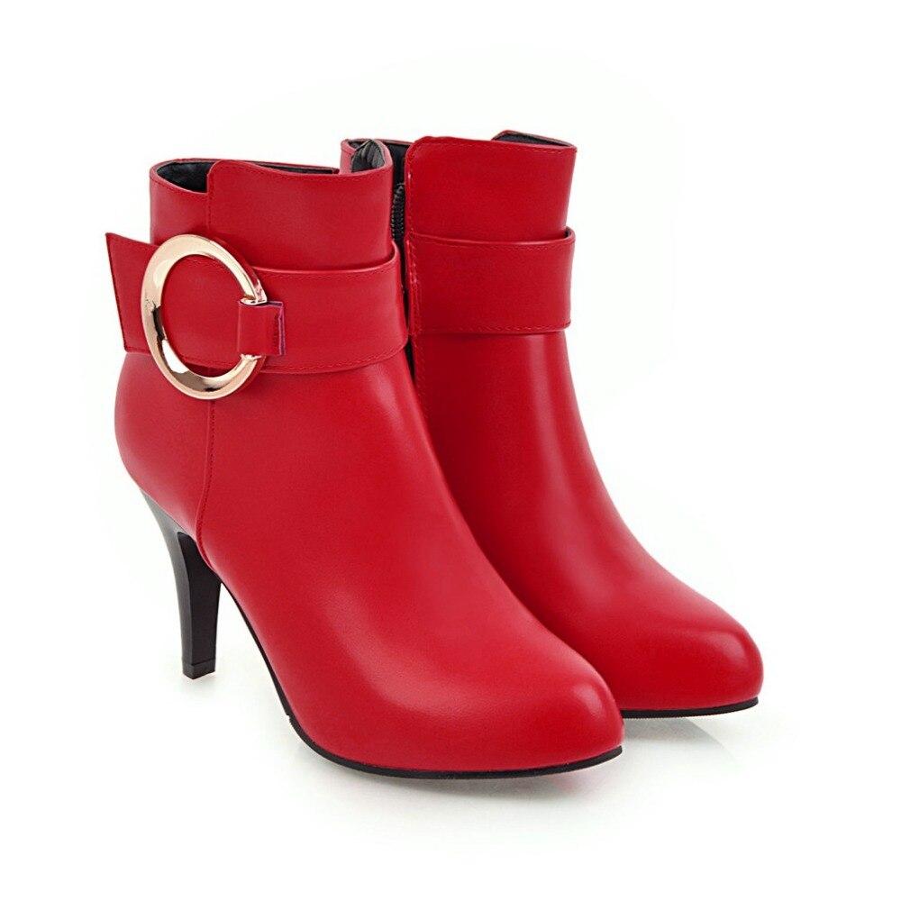 762ac3712c4 Invierno Chaussure Cuero Fino Botas rojo blanco Femininas Alto Oscuro Pu  2018 Bottes Tacón Sfbenz Botines Mujeres De Plataforma ...