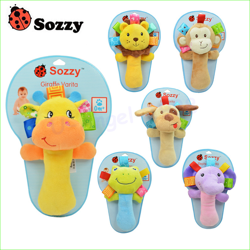 Register shipping ! Sozzy hand animal rattle Infant Baby rattles bb cute toys plush toy baby Educational BB rattles
