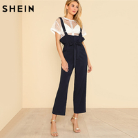 SHEIN Jumpsuits For Women 2018 Sleeveless Pocket Front D Ring Strap Overalls Solid Navy Mid Waist