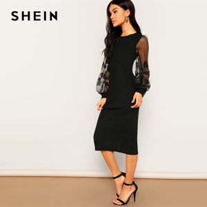 Image 4 - SHEIN Black Embroidery Mesh Insert Stretchy Bishop Sleeve Fitted Knee Length Bodycon Dress Women 2019 Spring Sheath Dresses