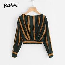 c266b050b9 ROMWE żółtym paskiem Crop Tops Wrap V dekolt Ruched bluzka jesień 2019 moda  kobiety elegancki guzik z długim rękawem Sexy bluzka
