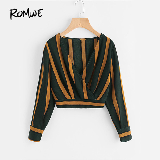 ROMWE Yellow Stripe Crop Tops Wrap V Neckline Ruched Blouse Fall     ROMWE Yellow Stripe Crop Tops Wrap V Neckline Ruched Blouse Fall 2017  Fashion Women Elegant Button